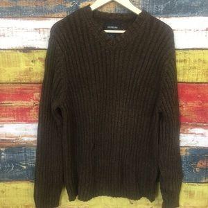 Express Men's V-Neck Brown Sweater R31